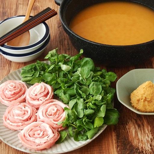 クレソンと豚肉の味噌しゃぶ発酵鍋