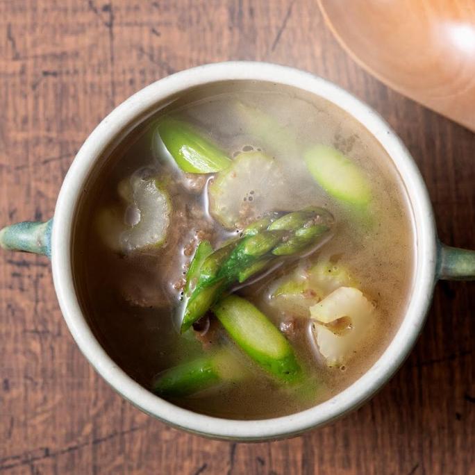 野菜のそぼろ(べジミート)とセロリの中華味噌スープ