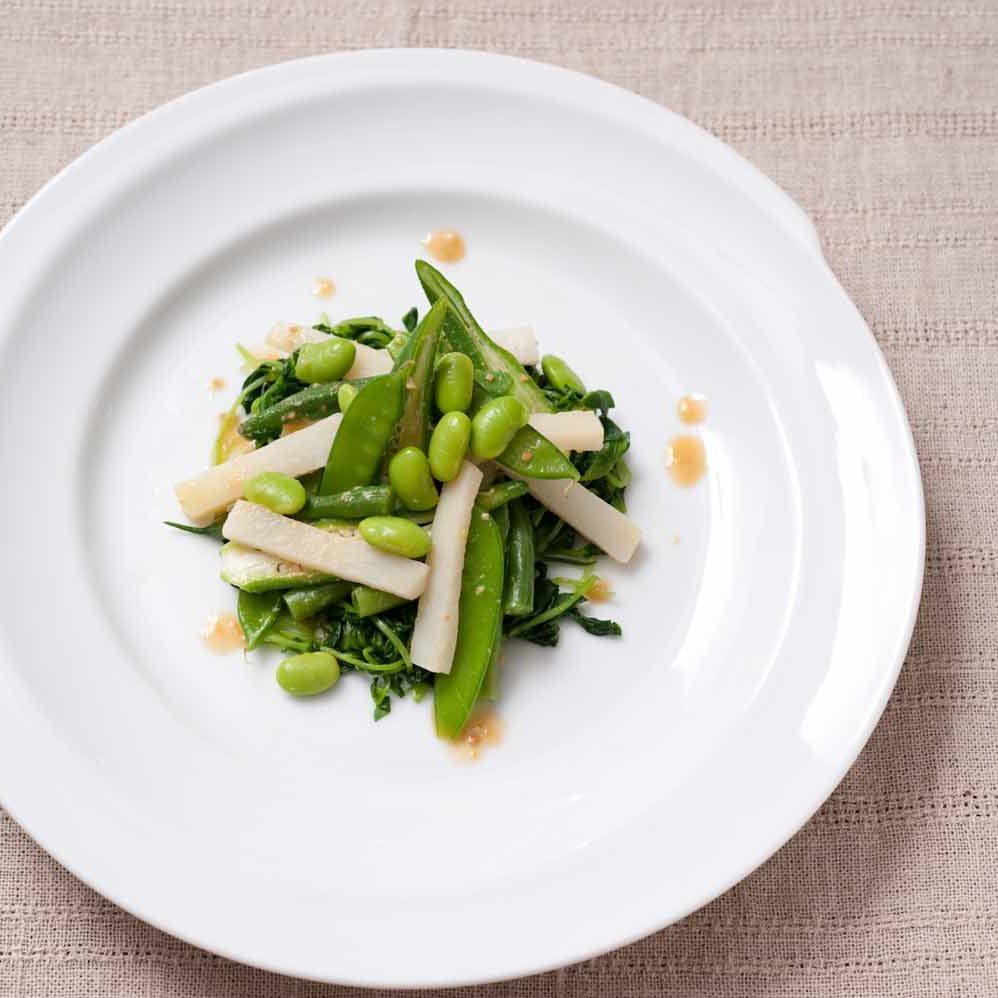 ビタミンCいっぱいの緑野菜サラダ 味噌ドレッシング