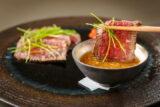 発酵と熟成がテーマの日本料理レストラン GINZA 豉 KUKI  7月コースのご案内  和牛腿肉たたき味噌ちり酢など全12品と9種の日本酒ペアリング
