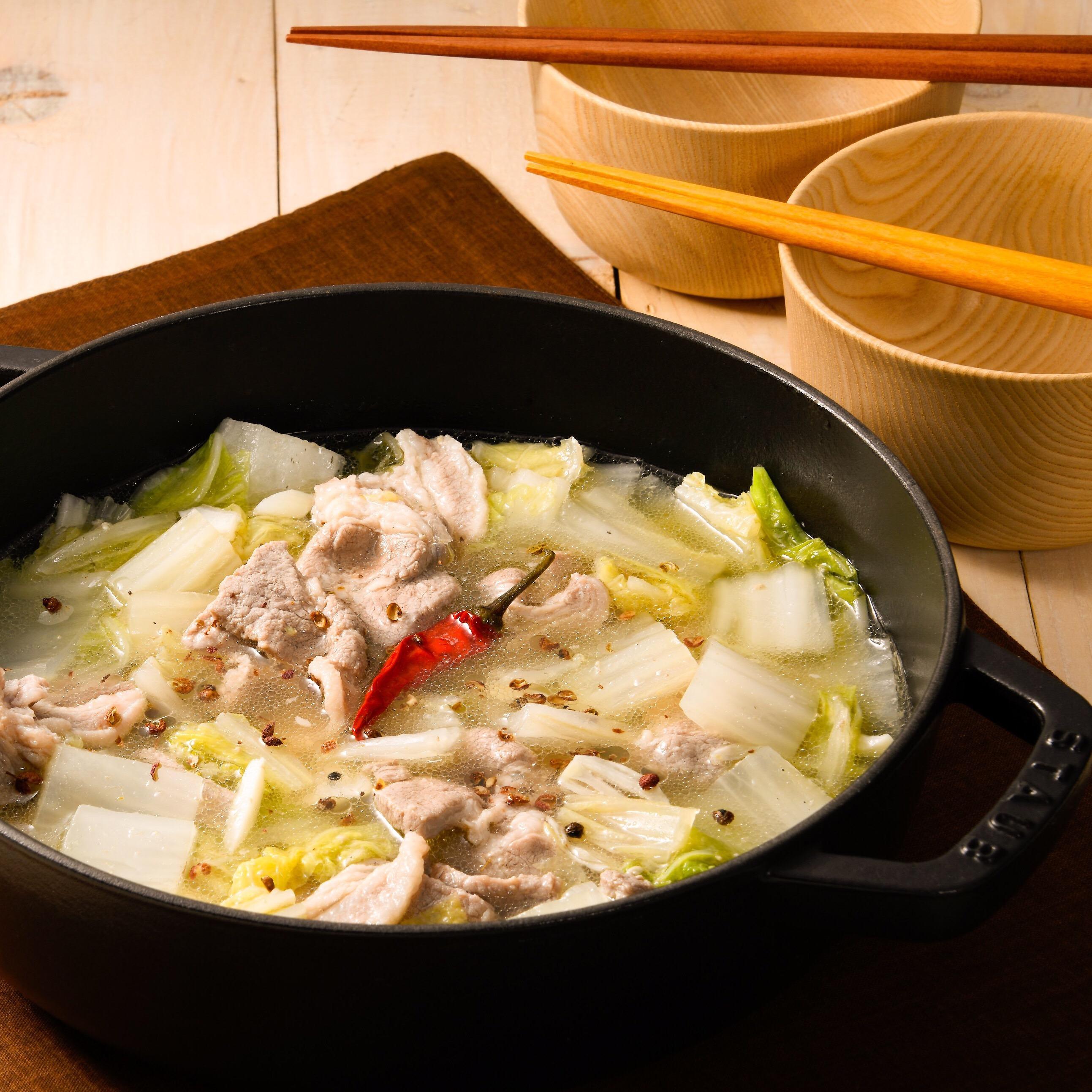 塩こうじ豚と白菜の花椒鍋