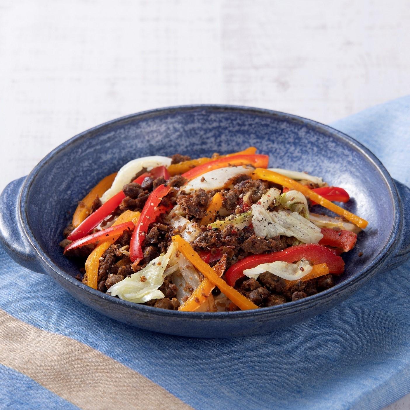 野菜のそぼろ(ベジミート)と<br>白菜のカレー風炒め