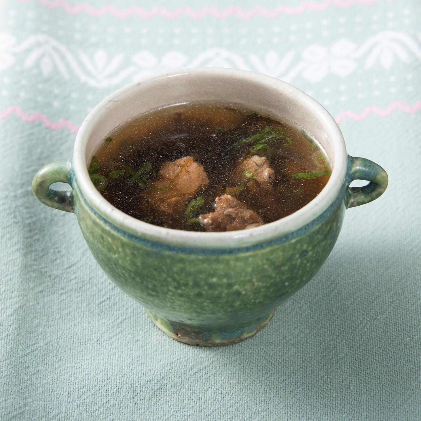 野菜のそぼろ(ベジミート)ともずくのスープ