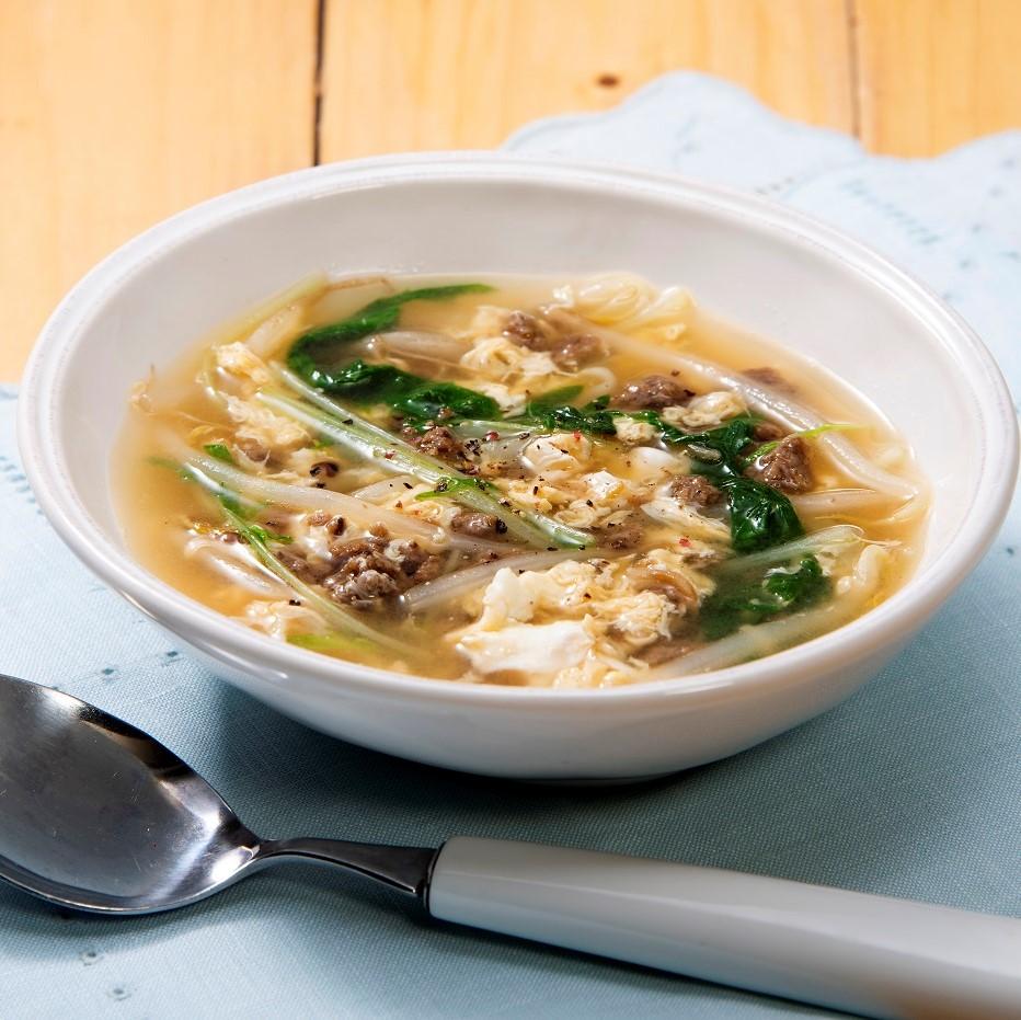 野菜のそぼろの中華風かきたまスープ