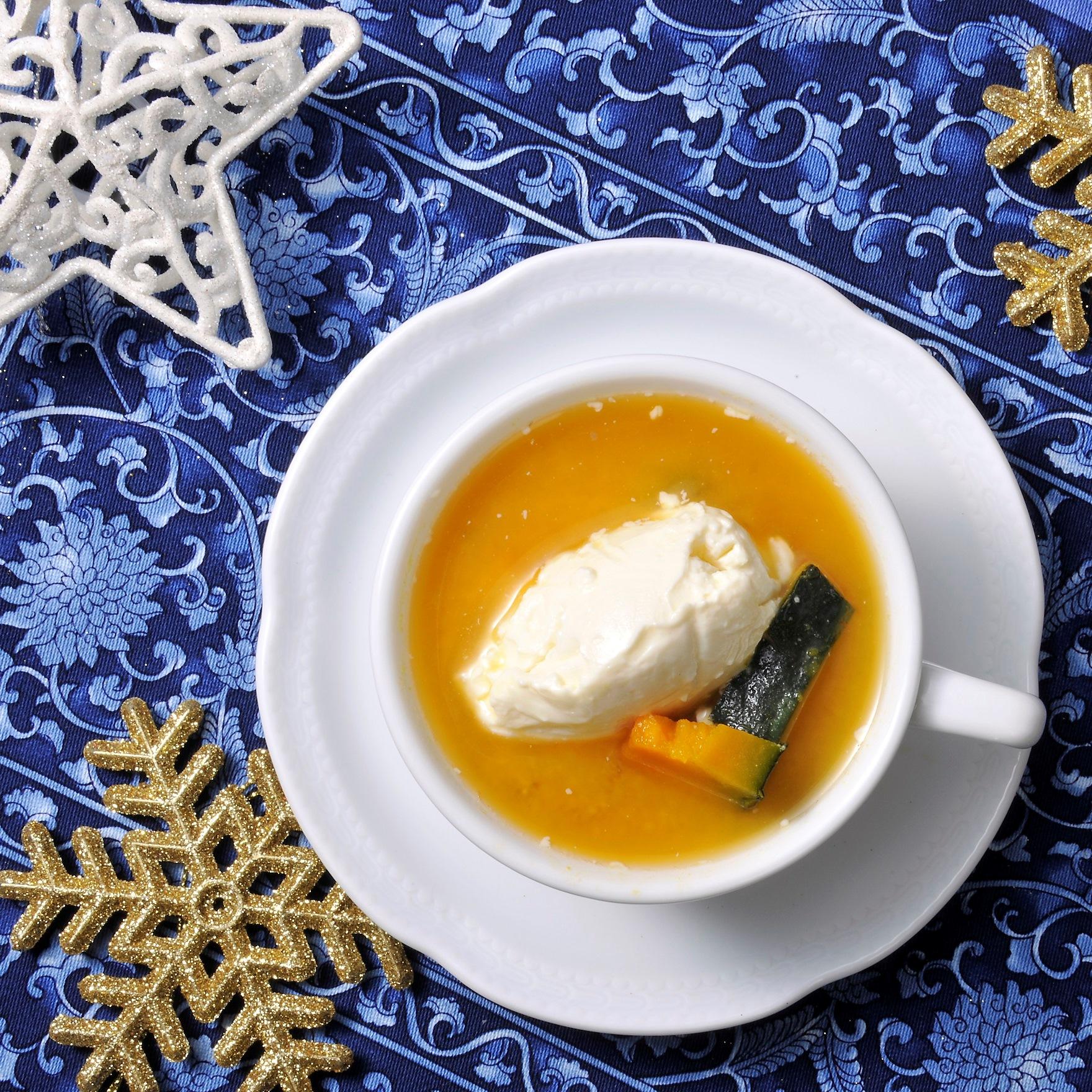 かぼちゃとクリームチーズの味噌スープ