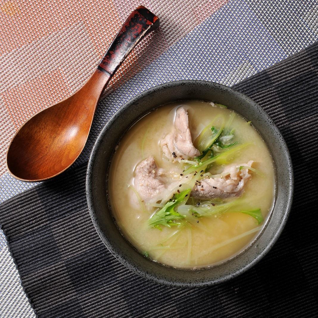 豚肉と水菜の甘酒スープ