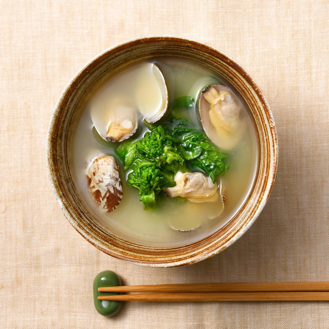 菜の花とあさりの味噌汁