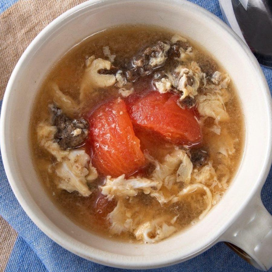 野菜のそぼろ(ベジミート)と<br>トマトの中華風スープ
