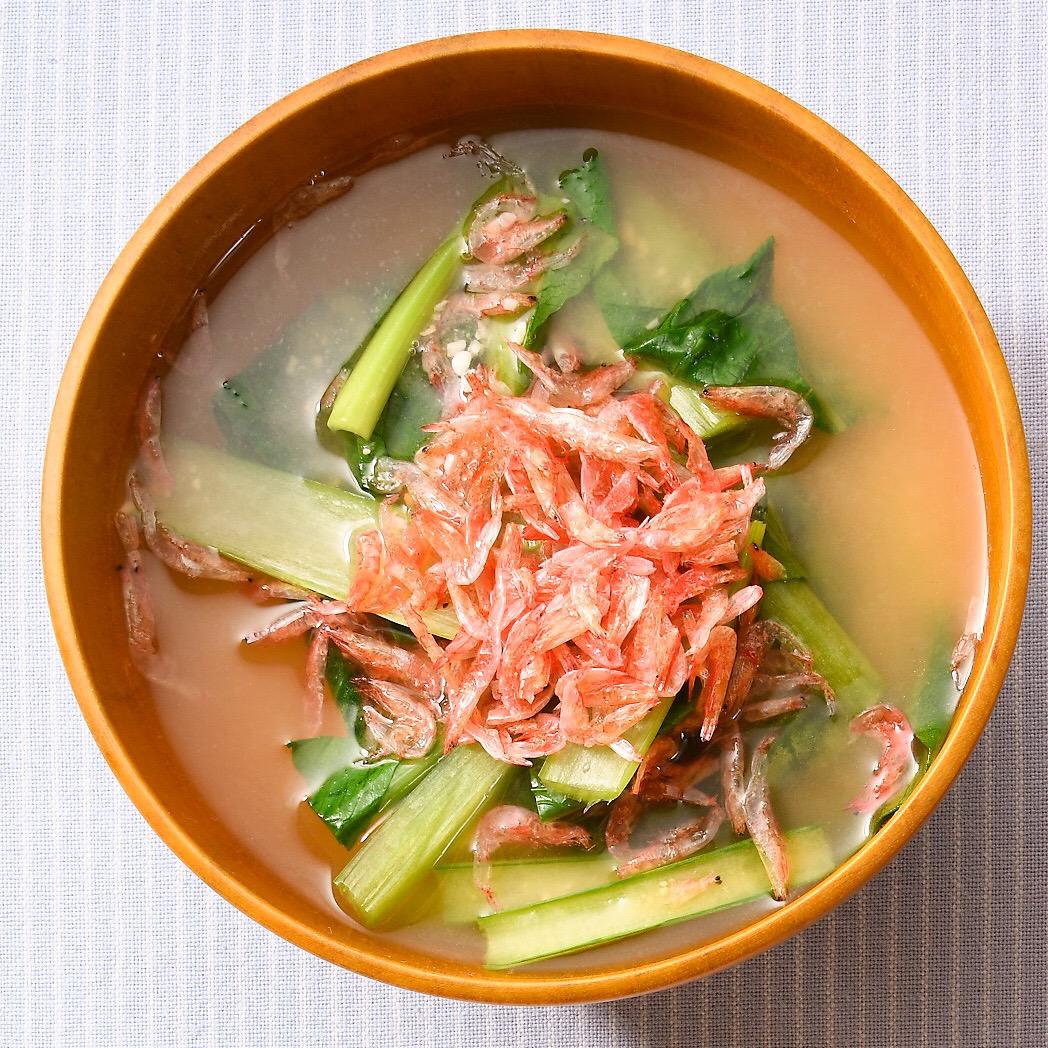 小松菜と桜えびの味噌汁