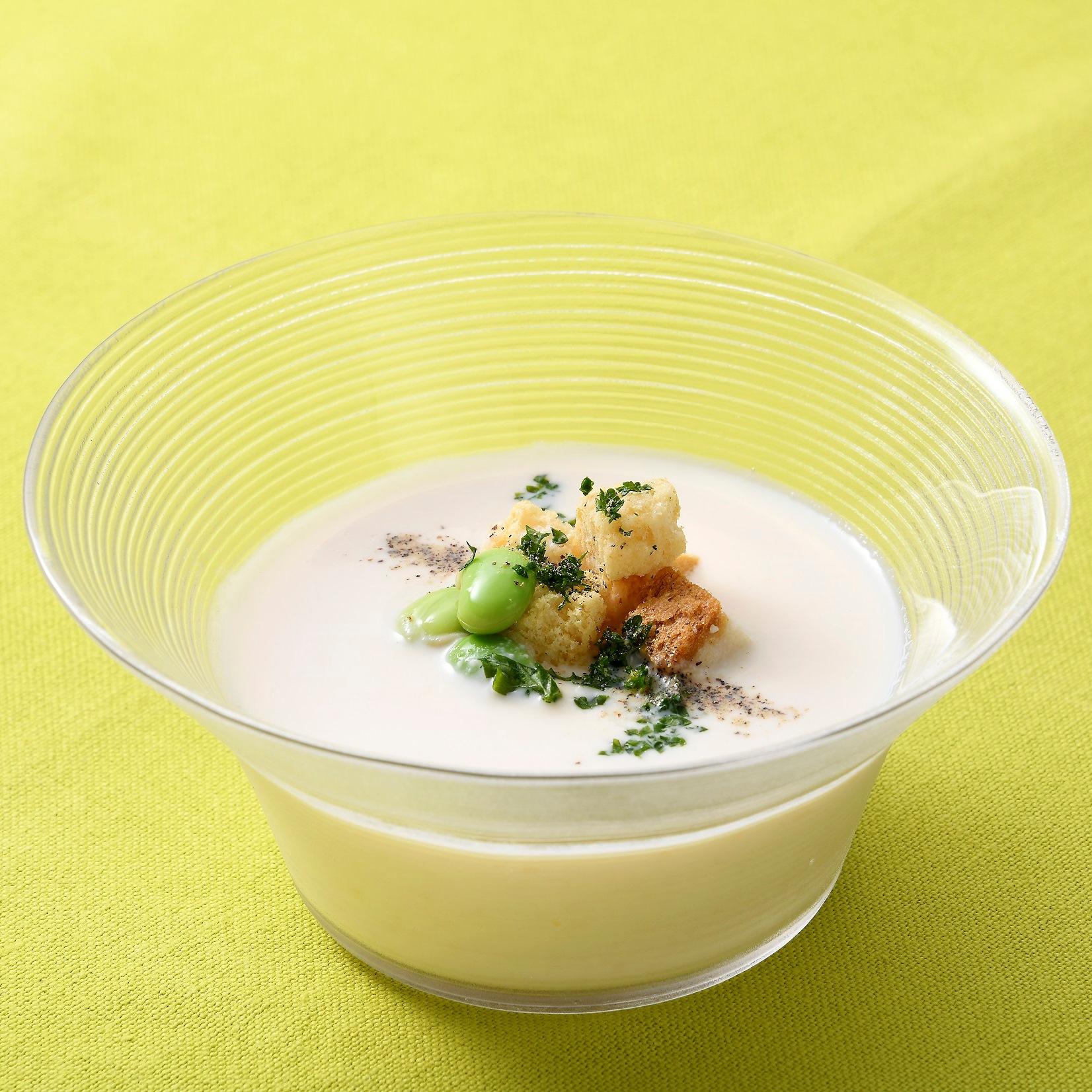 味噌と牛乳の冷製スープ 豆腐すり流し